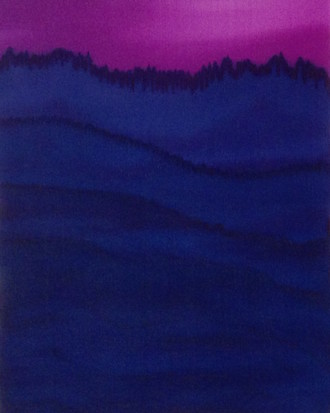 Silk Painting, Monochromatic Mountain Series, Blue Violet