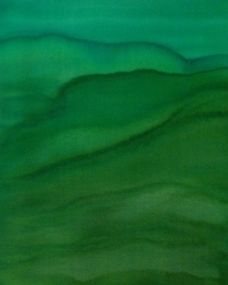 Silk Painting, Monochromatic Mountain Series, Green Yellow